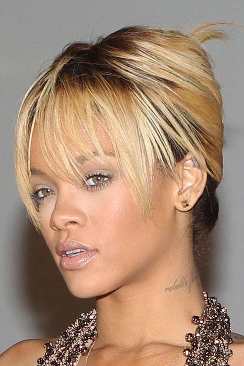Rihanna Straight Golden Blonde Choppy Bangs Dark Roots