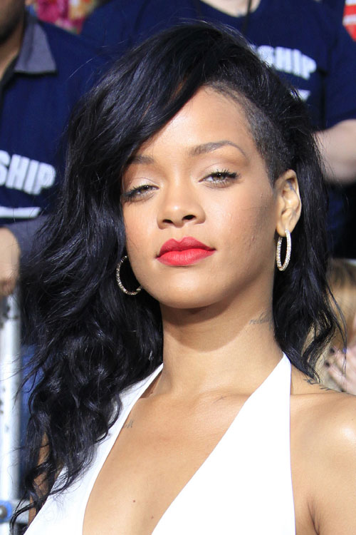 Rihanna Wavy Black Side Part Undercut Hairstyle Steal