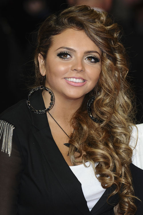 Jesy Nelson Curly Light Brown Barrel Curls Faux Sidecut