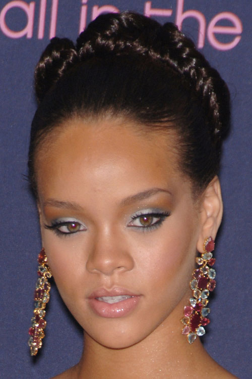 Rihanna straight black updo hairstyle steal her style pmusecretfo Images