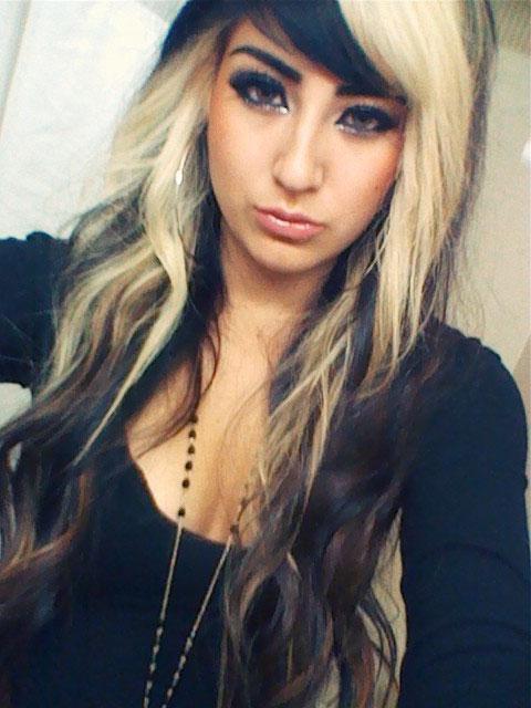 Dark hair with blonde bangs, black cock gang bang tube