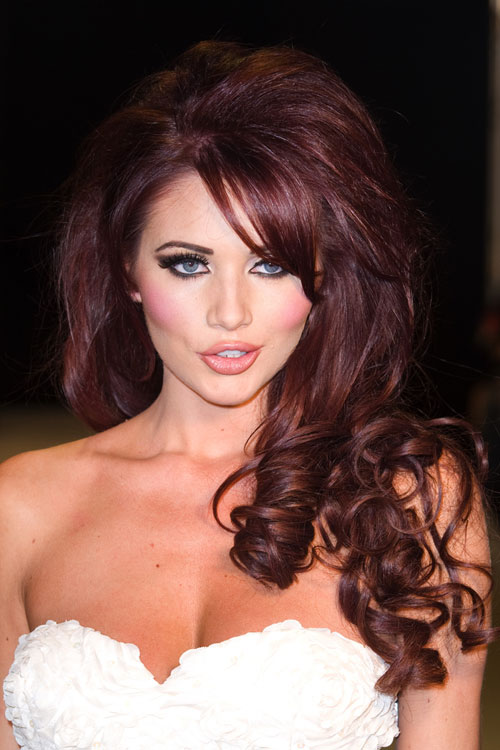 Amy Childs Curly Burgundy Barrel Curls, Bouffant, Sideswept Bangs