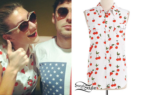 Amy Heidemann: Cherry Print Sleeveless Shirt