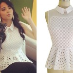 Becky G: Collared Eyelet Peplum Top