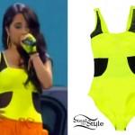Becky G: Neon Yellow Mesh Bodysuit