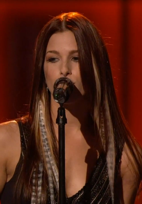 Cassadee Pope Straight Dark Brown Extensions Leopard Print Peek A