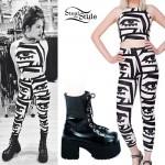 Chloe Chaidez: Eye Print Outfit, Goth Boots