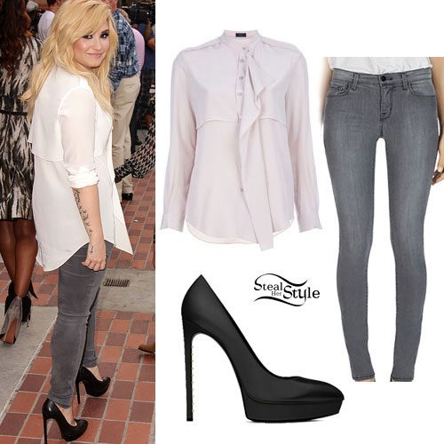 Demi Lovato: White Blouse, Grey Jeans