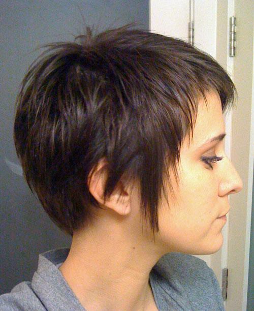 Katy Perry Hairstyles: DEV Straight Dark Brown Choppy Layers, Pixie Cut Hairstyle