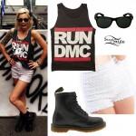 Gin Wigmore: Run DMC Tank, Sequin Shorts