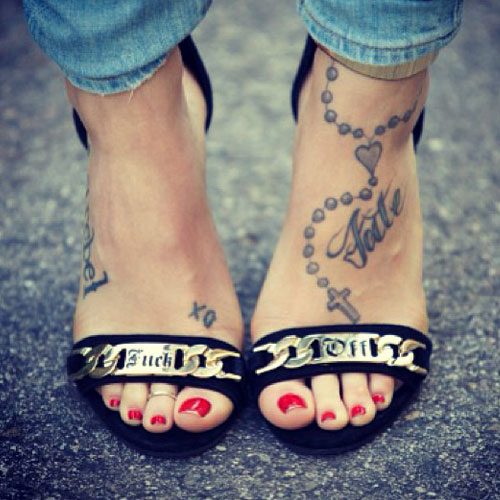 11 celebrity rosary tattoos steal her style for Ankle rosary tattoo