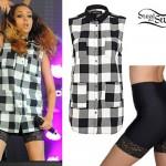Jade Thirlwall: Black & White Checkered Shirt