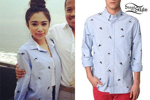 Jessica Sanchez: Orca Whale Print Button-Up