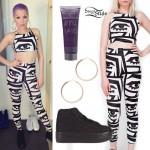 Jessie J: Eye Print Crop Top & Leggings