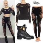 Jessie J: Fishnet Panel Top & Leggings
