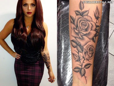 Jesy Nelson roses arm tattoo