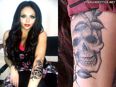 Jesy Nelson skull arm tattoo