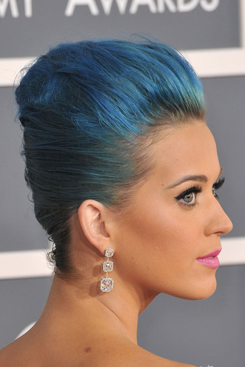 Katy Perry Straight Blue French Twist Pompadour Hairstyle Steal