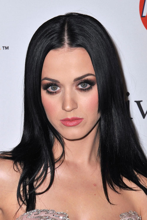 Katy Perry Straight Black Angled Hairstyle Steal Her Style