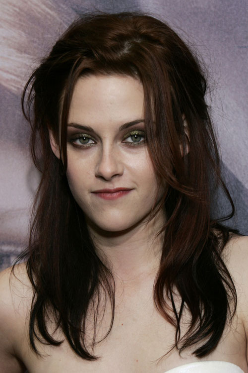 Kristen Stewart Wavy Dark Brown Angled Half Up Half Down