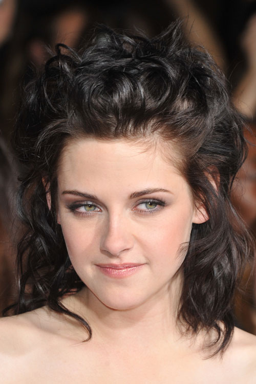 Kristen Stewart Curly Dark Brown Half Up Half Down Messy