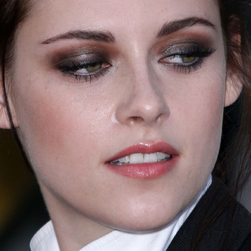 Brown Eyeshadow And Red Lipstick image