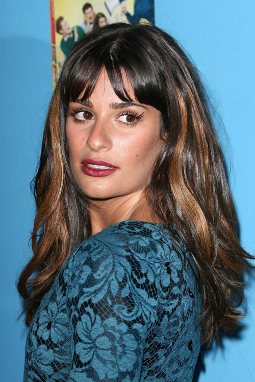 Lea Michele Wavy Dark Brown Chunky Highlights Straight