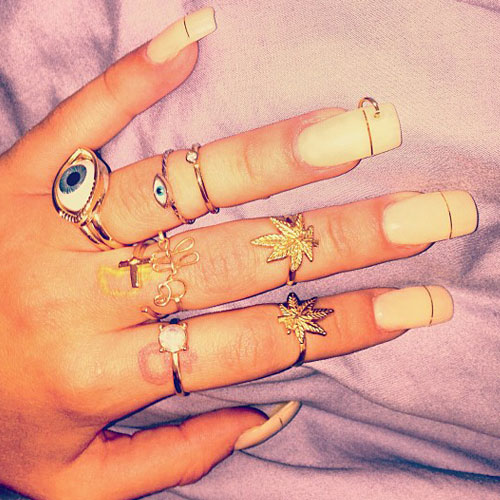 Lil Debbie White Foil Stripes Piercing Rings Nails Steal Her Style