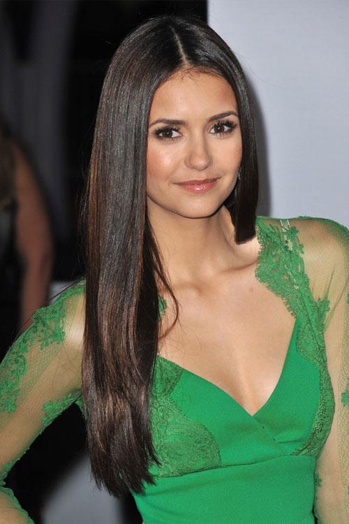 Nina Dobrev Straight Dark Brown Flat Ironed Hairstyle