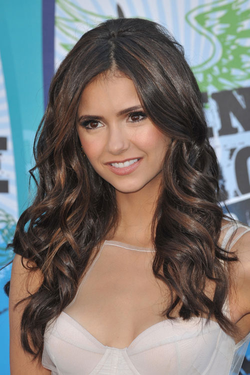nina dobrev wavy dark brown hairstyle steal her style