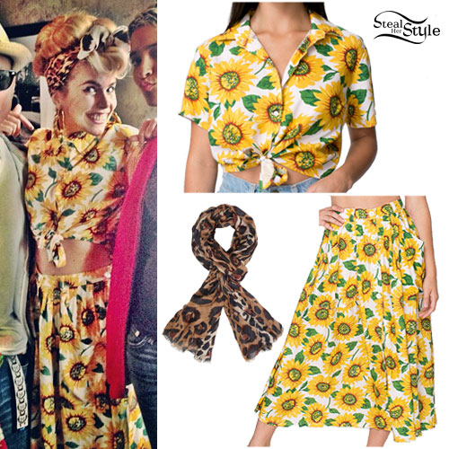Paloma Faith: Sunflower Print Blouse & Skirt