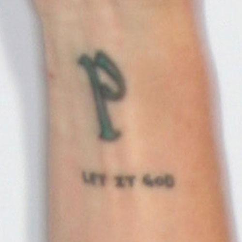 pauley perrette initial writing forearm tattoo steal