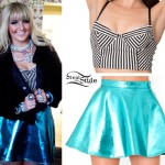 Rydel Lynch: Stripe Bralet, Blue Metallic Skirt