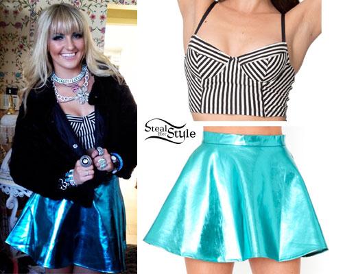 Rydel Lynch: Stripe Bralet, Blue Metallic Skirt