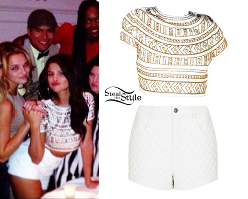 Selena Gomez Embellished Crop White Shorts Steal Her Style