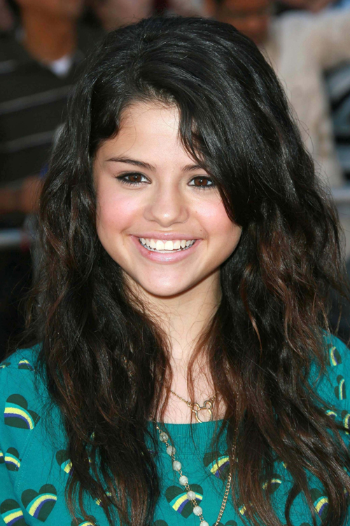 Selena Gomez Curly Dark Brown Peek-A-Boo Highlights ...