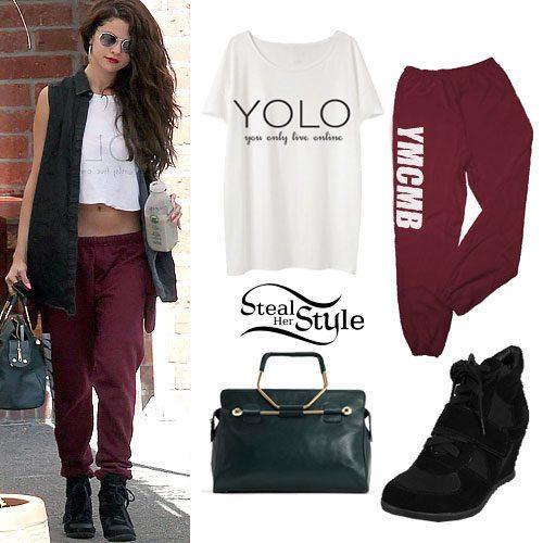 Selena Gomez: YOLO Tee, YMCMB Sweatpants