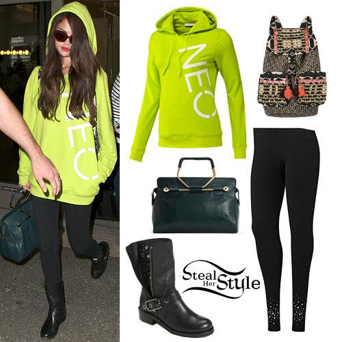 Selena Gomez: Neon Hoodie Outfit
