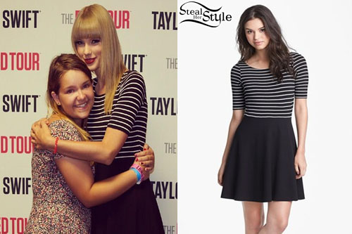 Taylor swift striped short sleeve dress steal her style taylor swift red tour pittsburgh meet and greet july 6th 2013 photo swiftyfrance m4hsunfo