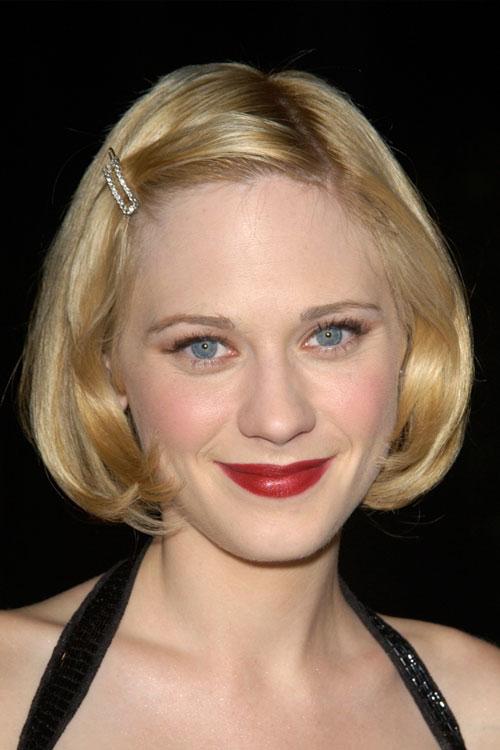 zooey deschanel straight golden blonde bob inward curl