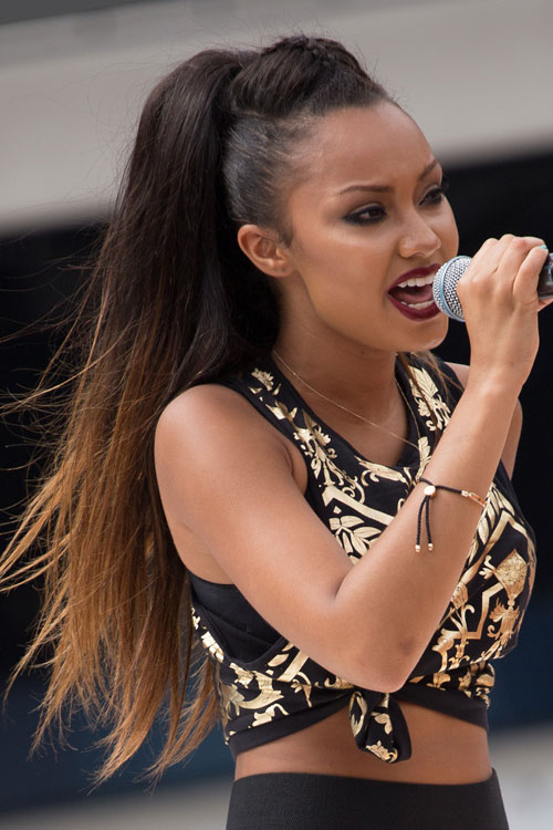 Leigh Anne Pinnock Straight Dark Brown Ombre Pompadour Ponytail Hairstyle Steal Her Style