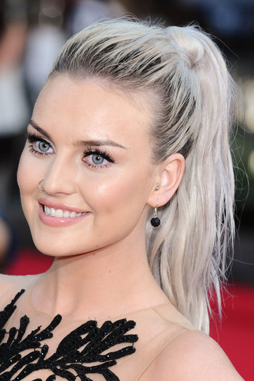 dark blonde hair styles perrie edwards wavy silver roots ponytail hairstyle 9552 | 20 perrie edwards hair
