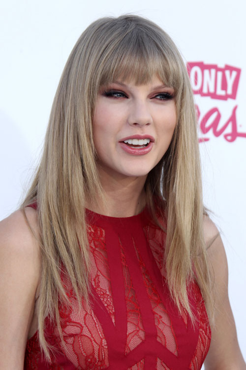 Taylor Swift Straight Ash Blonde Angled Straight Bangs