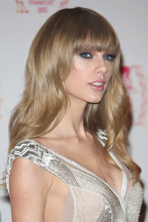 Taylor Swift Wavy Ash Blonde Straight Bangs Hairstyle