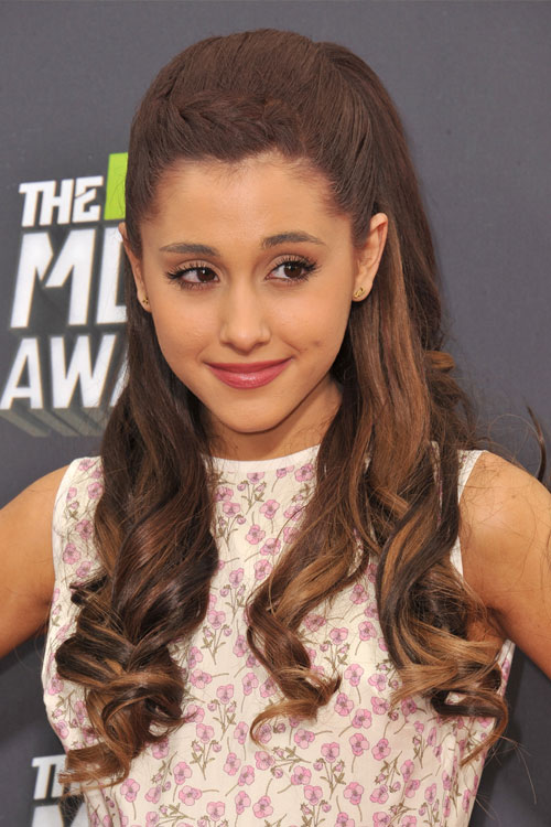 ariana grande wavy medium brown barrel curls crown braid