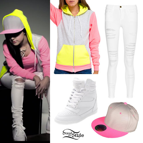 Becky G: Neon Hoodie, Ripped White Jeans
