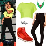 Becky G: Lime Tee, Orange Sneaker Wedges