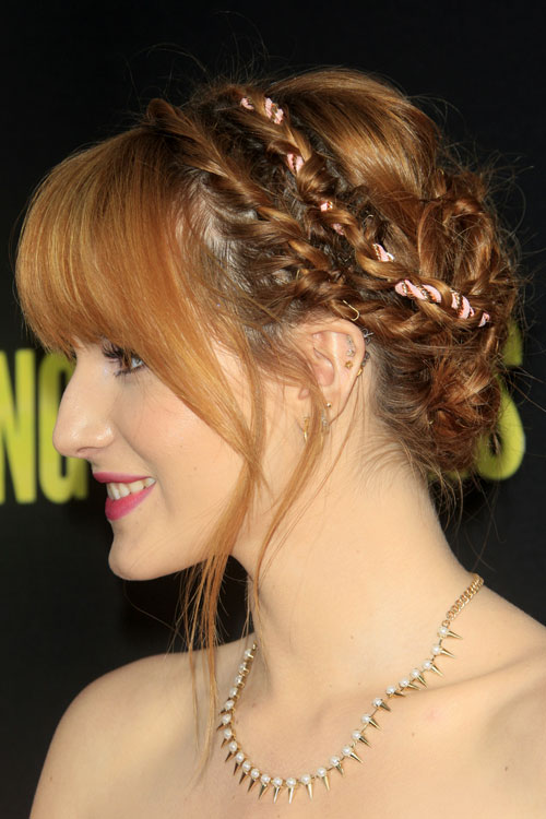 Bella Thorne Wavy Ginger Crown Braid Curved Bangs Updo