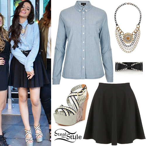Camila Cabello Denim Shirt Skater Skirt Steal Her Style