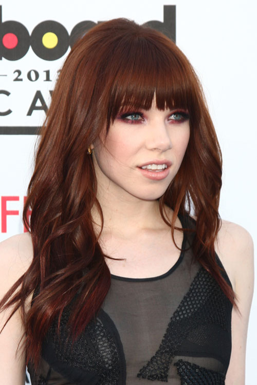 Carly Rae Jepsen Wavy Auburn Straight Bangs Hairstyle